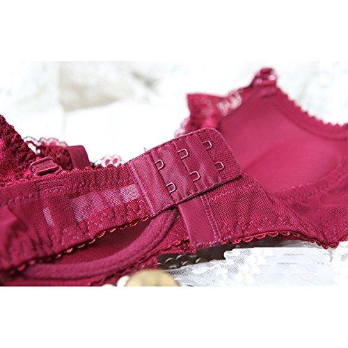 Laixing Alta qualità 2PCS Sexy Women Lace Underwire Bra Set Push Up Brassiere Lingerie Sets 70A-85B Black