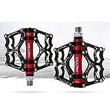 VOANZO Pedali per Bici, Pedali per Bici Pedali per Mountain Bike Resistenti Antiscivolo in Alluminio, Pedali per Bici da Ciclismo MTB BMX (Nero + Rosso)