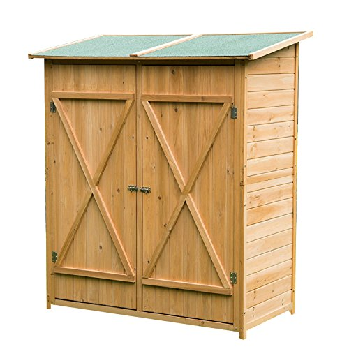 HOMCOM Gabinete Caseta Herramientas Jardin 165x140x75 cm Cobertizo Madera Maciza 2 Puertas