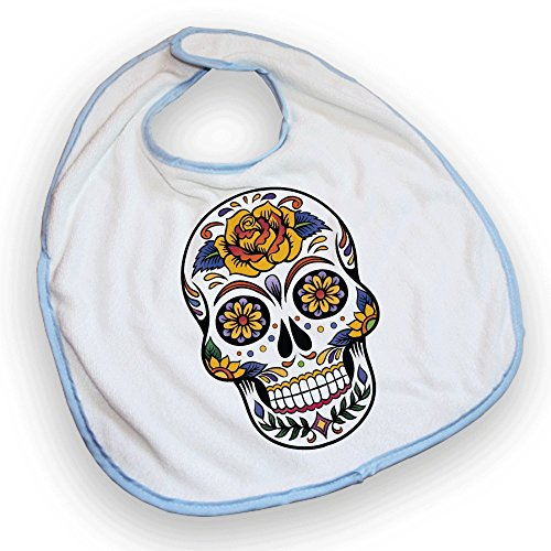 Bavoir bleu Tête de mort mexicaine / Sugar skull color - Fabriqué en France - Chamalow Shop