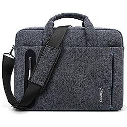 CoolBELL 15,6 Zoll Laptop Tasche mit Riemen mehrfachfach Messenger Bag Nylon Aktentasche für Männer / Damen,Grau