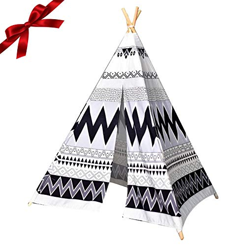 Indian Teepee Tent, Play Tent for Kids Deluxe Cotton Canvas Tent Tough & Built to Last Perfect for Children Indian Wigwam Tipi for Indoor or Outdoor