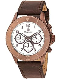 Burgmeister Reloj de cuarzo para mujer con blanco esfera analógica pantalla y pulsera de piel marrón BM532 – 015 – 1