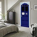 DIY 3D 3D Personalisierte Abnehmbare Polizei Zimmer Tür Aufkleber Stabile Tür Aufkleber Landschaft Tür Aufkleber Schlafzimmer Tür Wohnzimmer Wand Aufkleber Wandbild Kreative Dekoration Wasserdicht Umweltfreundlich Selbstklebend