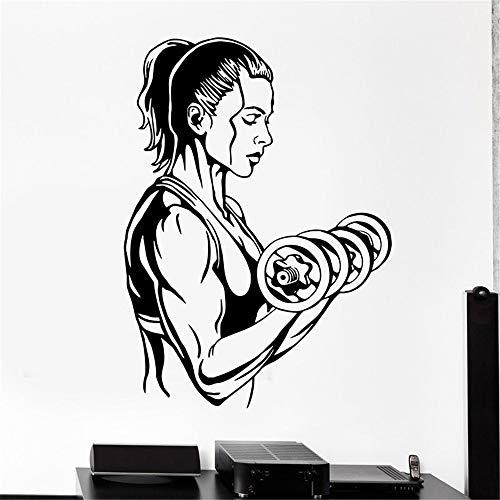 stickers muraux miroir pas cher Autocollant de gymnastique Haltère Fitness Decal Body building Posters Pegatina Quadro Parede Decor Autocollant de Gym