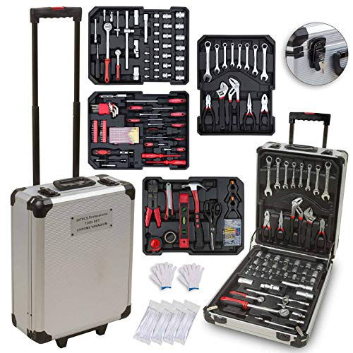 hanSe® Werkzeugkoffer Maxi 1059-teilig Werkzeug Trolley gefüllt Werkzeugkasten Werkzeugkiste Heimwerker Werkzeugset