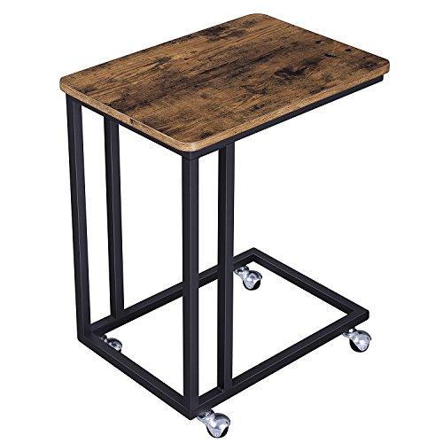 Tisch-teppich (SONGMICS mobiler Beistelltisch Kaffeetisch kleiner Abstelltisch für Kaffee, Snacks, Tablet mit Metallgestell und Rollen LNT50X)