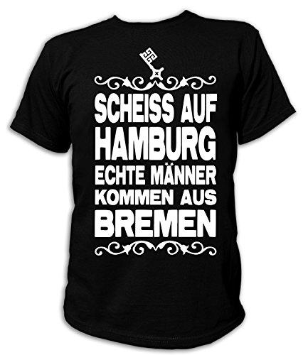 Artdiktat Herren T-Shirt Scheiß auf Hamburg - Echte Männer Kommen Aus Bremen Größe XXXL, Schwarz