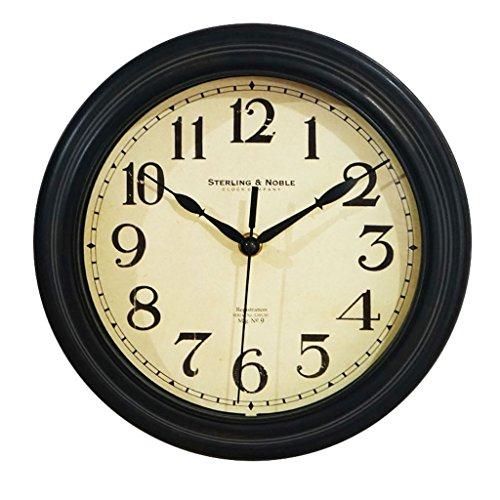 TIANT UK- Horloge murale circulaire de 25 cm de diamètre silencieux non-coutil facile à lire horloge à quartz numérique avec couvercle en verre