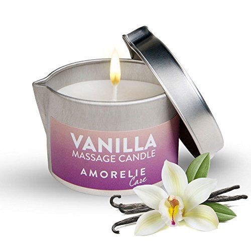 AMORELIE Care - Candela da massaggio profumata alla vaniglia che si trasforma in olio ideale per massaggi di coppia (50ml))