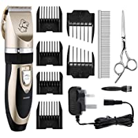 Clippers Cordless TOPOP Rechargeable Pet Grooming Clippers Low Noise Electric Clippers Low Vibration Pet Hair Shaver Pro Ceramic Movable Blade Grooming Trimmer Kit Set Cat Clippers with Metal Comb ,Stainless Steel Scissors, 6 Comb Guides and Cleaning Brush for Pet Dogs and Cats - Gold+Black