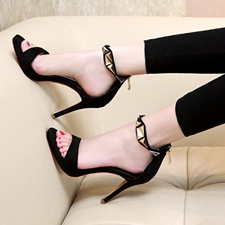 SHOESHAOGE Die Schwarze Luft Dew-Toe Sandalen Mit Dünnen High Heels Geschlitzten Lasche Wasserdichte Einzelneö