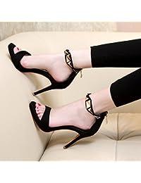 KPHY Sandalias de Ante Finas con Hebilla para Cinturón, Sexy con Tacón Alto, para Zapatos de pie, Negro, Thirty-Four