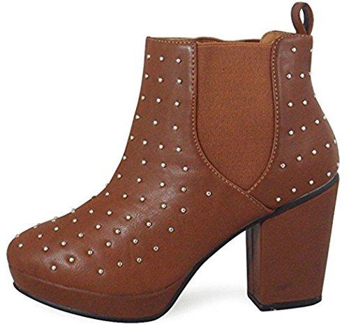 Mesdames élastique cheville Chelsea Zip Bottes Femmes Noir Block talon clouté Chaussures 3–8 Marron - PU caramel