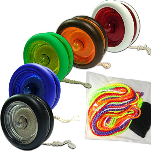 Preisvergleich Produktbild Tiger Snake Loop Jojo mit Yoyo Einsteiger Set inkl. 7 Schnüre, Finger-Protector + Trick Fibel (Schwarz-Orange)