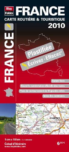 2010 France Carte routière et touristique plastifiée