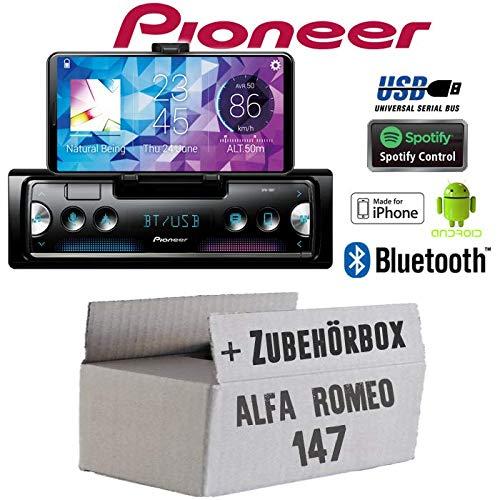 Autoradio Radio Pioneer SPH-10BT - Smartphone Empfänger mit Bluetooth | Spotify | Android | iPhone | 4x50Watt Einbauzubehör - Einbauset für Alfa Romeo 147 Silber - JUST SOUND best choice for caraudio - Caraudio-empfänger