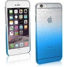 """igadgitz Azul / Claro Efecto Gotas de Lluvia Funda Carcasa para Apple iPhone 6 & 6S 4.7"""" Plástico Case Cover + Protector de Pantalla"""