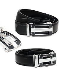 Kandharis Herren Gürtel mit Automatik Schnalle Echt Leder 3,5cm Breit Einfarbig Schwarz kürzbar Modell 147