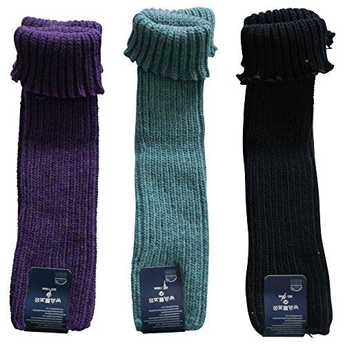 Gesundheitsstrumpf 3 Paar Legwarmer Stulpen mit feiner Wolle Lila-Grün-Blau
