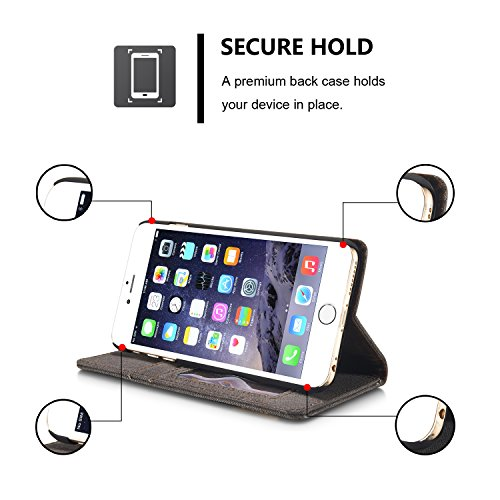 Roreikes Housse de protection pour Apple iPhone 6 / iPhone 6S (4.7 pouces), [Denim Case Streak portefeuille] véritable Toile Premium flip Cover Case Denim Folio, Slim avec fonction de support et d'ide Noir