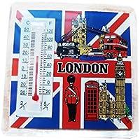 Termometro magnete, da collezione # 1, icone Londra su sfondo bandiera, Souvenir dell'Inghilterra, acrilico resistente,  - per gli amanti delle calamite