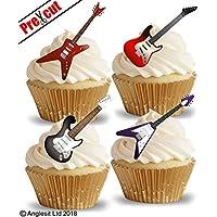 Papel de regalo para cupcakes, tartas y despensas, diseño de guitarra eléctrica precortada