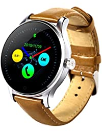 Classic salud Metal Smartwatch con Bluetooth Monitor de frecuencia cardíaca para Android de la pulsera de piel marrón