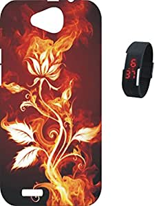 BKDT Marketing Printed Soft Silicon back cover for Xolo Prime with Digital Watch