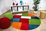 Kinder Teppich Savona Kids Karo Bunt Design Multicolour Rund in
