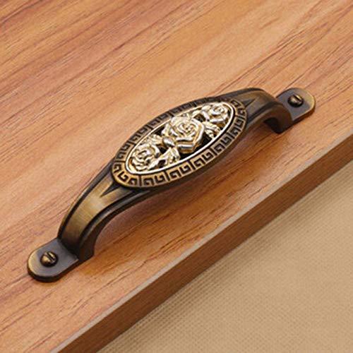Geschnitzt 2-tür Schrank (Dryujdytru Retro Bronze Zinklegierung Küchen Schrank Kleiderschrank Tür Schublade Geschnitzt Griffknauf für Wohndeko (keine Farben))
