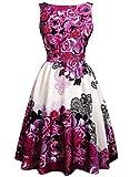 Creti Elegant Damen Vintage 50er Kleider Floral Flare A-Line Partykleid Sommerkleid