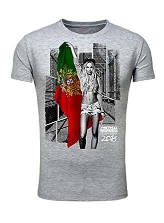 T-Shirt Herren Männer Fan Printshirt Fußball Europameisterschaft 2016 Girl Sexy Portugal