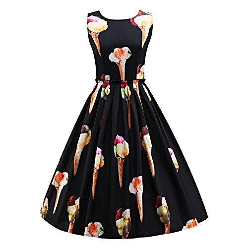 Tanz Kostüme Jahre 40er (Frauen 50er Jahre Vintage Hepburn Button Dekoration Swing Party Cocktail BallGown Druck)