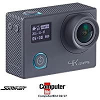 Somikon Aktion Cam: 4K-Action-Cam für UHD-Videos mit 2 Displays & 16-MP-Sony-Sensor, IP68 (4K Actioncam)