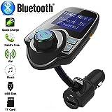 leoie Fashion Schwarz Wireless Kfz Bluetooth FM Transmitter MP3Radio Adapter USB Ladegerät Car Kit