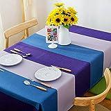 BUUYI Manteles Mesas de comedor Decoración Violeta azul 140x140cm Boda hotel restaurante Moderno sencillo
