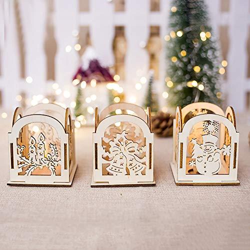 Frashing Kandelaber Weihnachten aus Holz und Laternen dekoriert Weihnachtskerzenhalter Kerzen Anhänger dekorative Holz Verzierungen Hängende Ornamente, 7.5x8CM