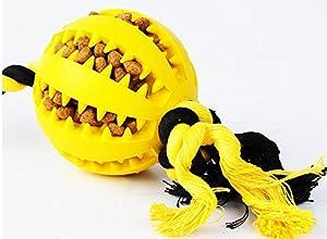 HNBGY Résistance aux morsures Balle de dent Propre de Jouet de Chargeur de Corde de Noeud pour l'entraînement d'animal familier (Jaune)