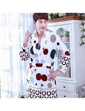 SUxian Gran Los Hombres de Franela Puntos Impresa Albornoz Vestido de Mangas largas Albornoz camisón Pijamas con...
