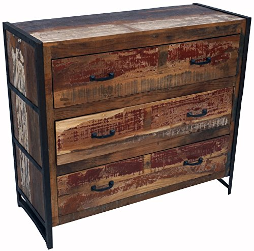 Guru-Shop Commode Cru, Console 3 Tiroirs de Bois de Métal et le Recyclage, 90x100x40 cm, Commodes