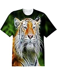 Snoogg Abstract Neon Tiger Mens Casual All Over Printed T Shirts Tees