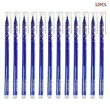 Xurgm 12 Radierbarer Kugelschreiber mit Radiergummi Blau Radierbare Tintenroller Schreiber 0,38mm