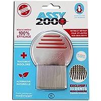 ASSY 2000-Pettine anti pidocchi e anti lendini-in acciaio inox temperato con denti micro-scanalati