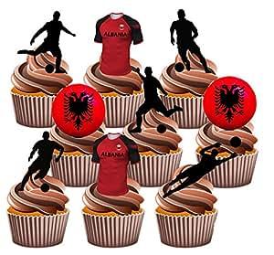 Euro 2016Albanien Fußball Party Pack–essbar Stand-up Cup Cake Topper (36Stück)