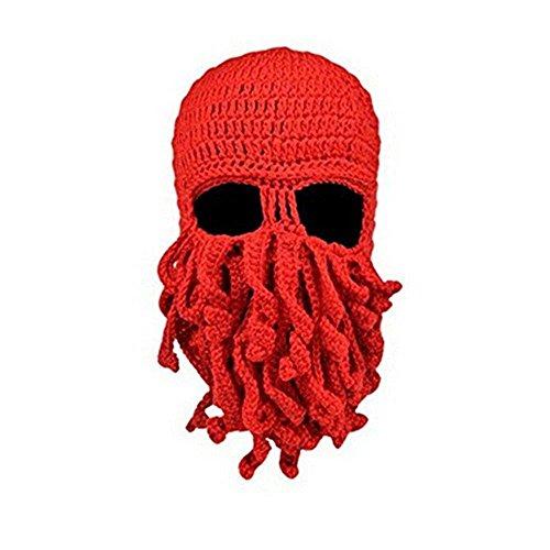 Queenshiny® Kopf Barbar Vagabond Beanie Original Foldaway Bart Hüte Halloween Viking Horns Bärtige Caps (Oktopus rot)