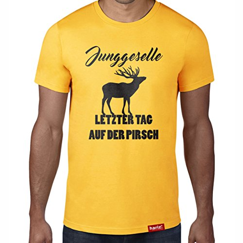 Junggeselle - Letzter Tag auf der Pirsch // Original Hariz® T-Shirt - Sechzehn Farben, XS-4XXL // Junggesellenabschied | Geschenk | Team | Braut | Bräutigam #JGA Collection Gold L (Elf Kostüm Party-stadt)