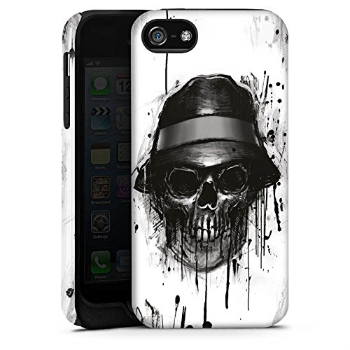 Apple iPhone X Silikon Hülle Case Schutzhülle Totenkopf Hut Skull Tough Case matt