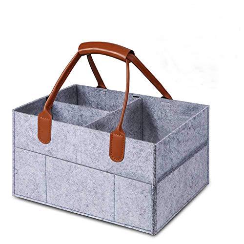 Lomire Baby Windel Organizer, tragbare Windel-Aufbewahrungsbox mit austauschbaren Fächern Organizer für Windeln und Feuchttücher (grau)