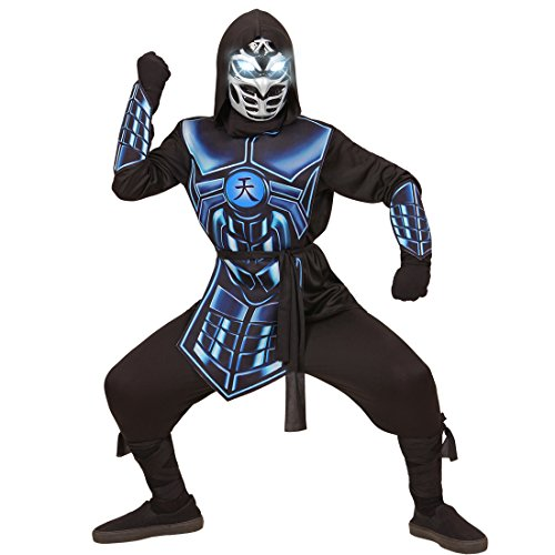 Amakando Kinder Ninjakostüm - 158, 11 - 13 Jahre - Ninjago Kinderkostüm Faschingskostüm Jungen Samurai Kriegerkostüm Ninjaanzug Japan Cyber Ninja Kostüm